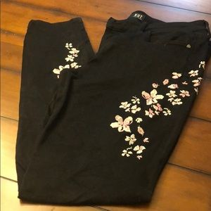 Black jeans pink blue embroidered flowers